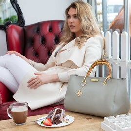 Personalised Avery Handbag In Soft Grey