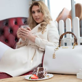 Personalised Avery Handbag In White