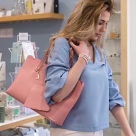 Personalised Cara Scalloped Handbag In Blush Pink
