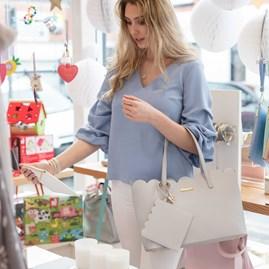 Personalised Cara Scalloped Handbag In Pale Grey