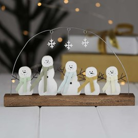 Five Snowmen And Snowflake Christmas Decoration