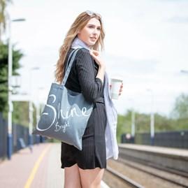 Katie Loxton 'Shine Bright' Canvas Bag In Dark Grey