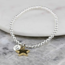 Personalised Skinny Bead Bracelet With Gold Star