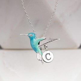 Personalised Solid Silver Hummingbird Pendant