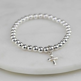 Child's Silver Christening Bracelet With Silver Cross