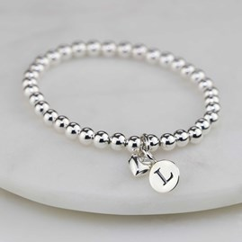 Personalised Child's Bracelet With Silver Heart Charm