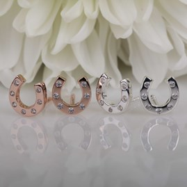 Silver Or Rose Gold Horseshoe Stud Earrings