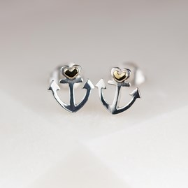 Solid Silver Anchor And Heart Stud Earrings