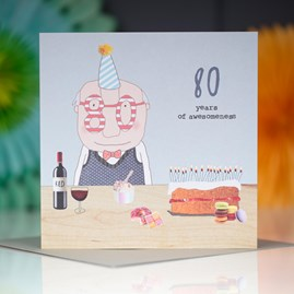 '80 Years Of Awesomeness' Greetings Card