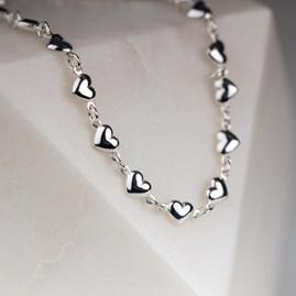 Solid Silver Pillow Heart Charm Bracelet