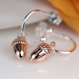 Rose Gold Acorn Hoop Earrings