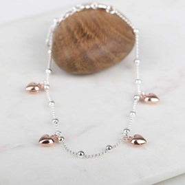 Rose Gold Hearts And Solid Silver Anklet