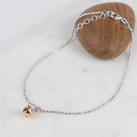 Rose Gold Charm And Solid Silver Anklet