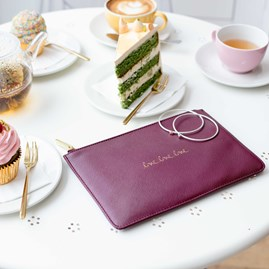Katie Loxton Personalised 'Love Love Love' Plum Wine Perfect Pouch
