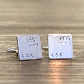 Personalised Wedding Role Silver Cufflinks