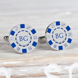 Personalised Silver Poker Chip Cufflinks
