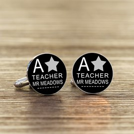 Personalised Thank You Teacher A* Cufflinks