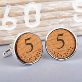 Personalised Silver And Wood 5th Anniversary Cufflinks