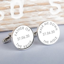 Personalised 'Walk Me Down The Aisle' Wedding Cufflinks