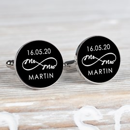 Personalised 'Mr And Mrs' Infinity Cufflinks
