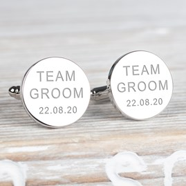 Personalised 'Team Groom' Wedding Cufflinks