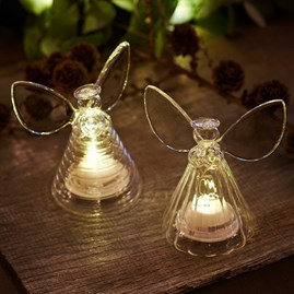 Clear Glass Set Of Two Angels With LED Lights