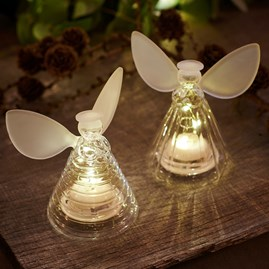 Frosted Glass Set Of Two Angels With LED Lights