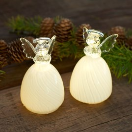 Frosted Glass Pair Of Angels With LED Lights