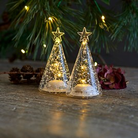 Clear Glass Trees Set Of Two With LED Lights