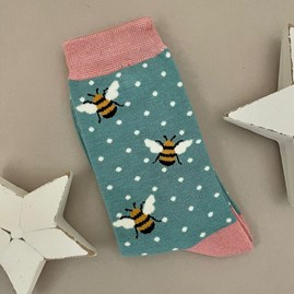 Bamboo Bumble Bees Socks in Turquoise
