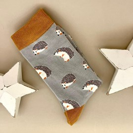 Bamboo Cute Hedgehog Socks in Silver