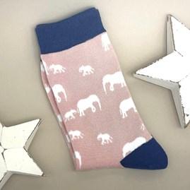 Bamboo Elephants Socks in Dusky Pink