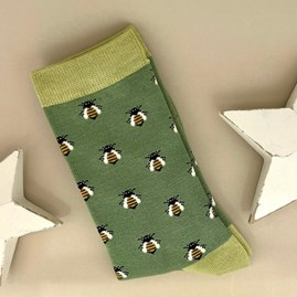 Bamboo Honey Bee Socks in Green