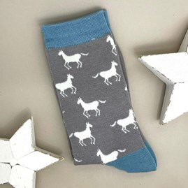 Bamboo Horses Socks In Light Grey