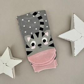 Bamboo Kitty & Spots Socks in Grey