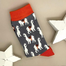 Bamboo Llamas Socks In Grey