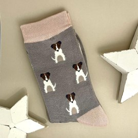 Bamboo Mini Jack Russells Socks In Grey