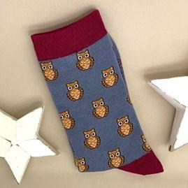 Bamboo Owls Socks In Blue