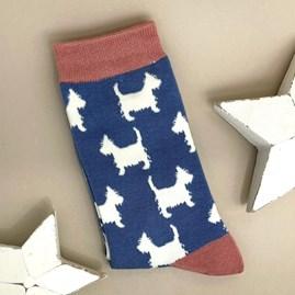 Bamboo Scottie Dog Socks In Denim