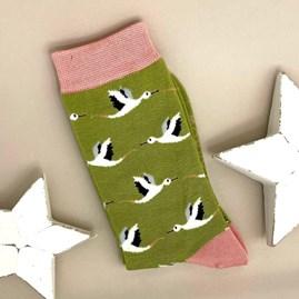 Bamboo Storks Socks In Olive