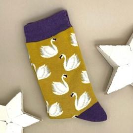 Bamboo Swans Socks In Yellow