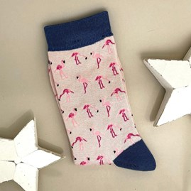 Bamboo Wild Flamingos Socks In Dusky Pink