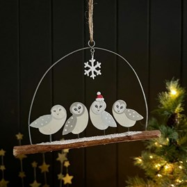 Barn Owls on Twig Hanging Decoration