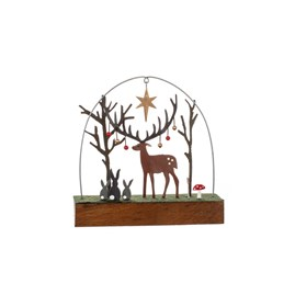 Bauble Stag on Block Christmas Decoration