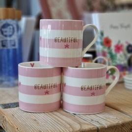 'Beautiful' Pink Striped Bone China Mug