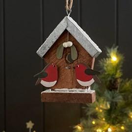 Birdhouse and Mistletoe Hanging Decoration