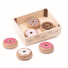 Wooden Doughnut Play Food in Crate