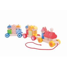 Wooden Build Up Pull Along Toy Train