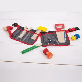 Children's Red Tool Belt with Wooden Tools
