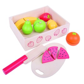 Wooden Cutting Fruit Play Food in Crate